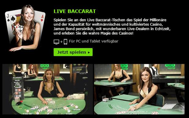 Baccarat mit PayPal im 888 Casino spielen