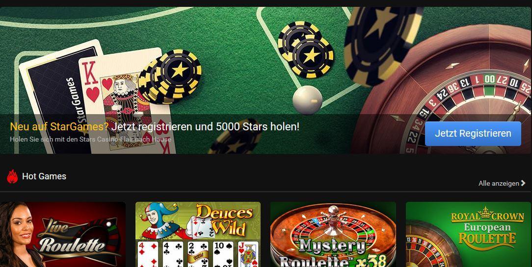 Stargames offeriert auch Live Casino Spiele.