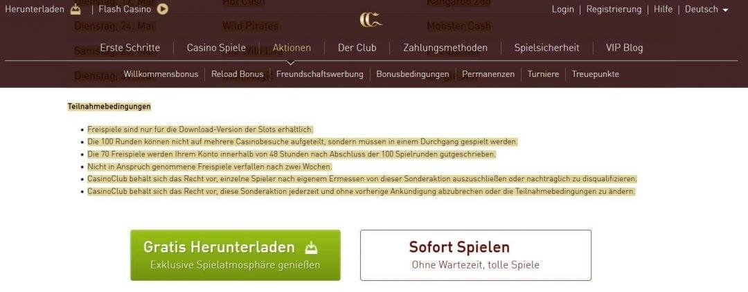 Screenshot Casino Club Bedingungen für Extradrehs