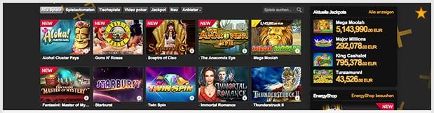 Energy Casino Erfahrungen: Spieleangebot ist stark
