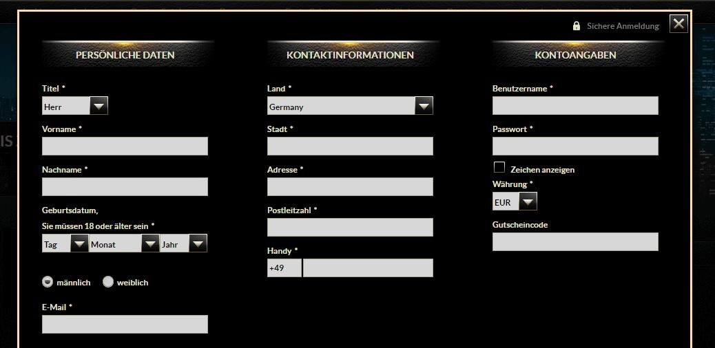EuroGrand Registrierung