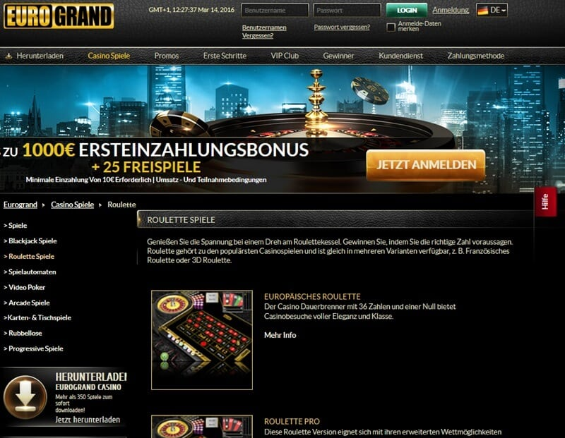 Screenshot Eurogrand Roulette Variationen