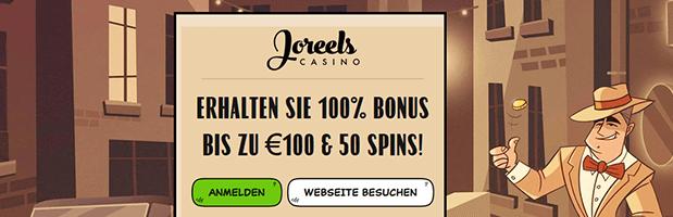 Joreels Bonus: Bis zu 100 Euro + 50 Freispiele für Neukunden