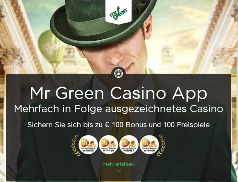 Screenshot Mr Green mobile App