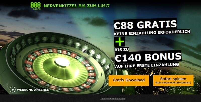 Screenshot 888casino 140 Euro Bonus