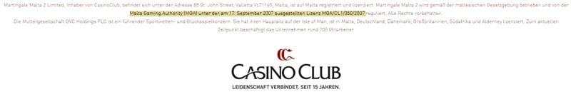 Screenshot CasinoClub Lizenz