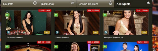 Viele Angebote im Live-Casino