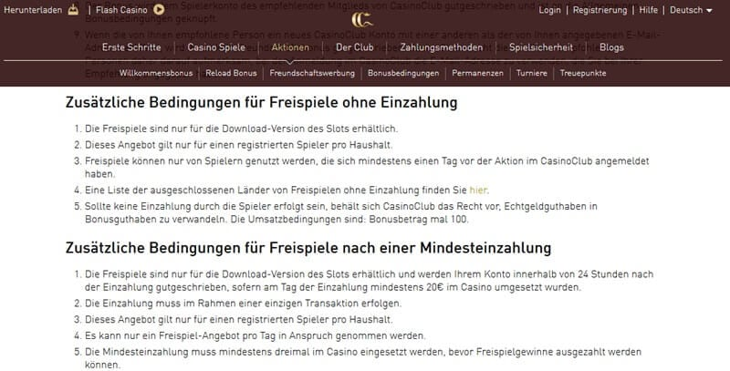 Screenshot CasinoClub Bonusbedingungen