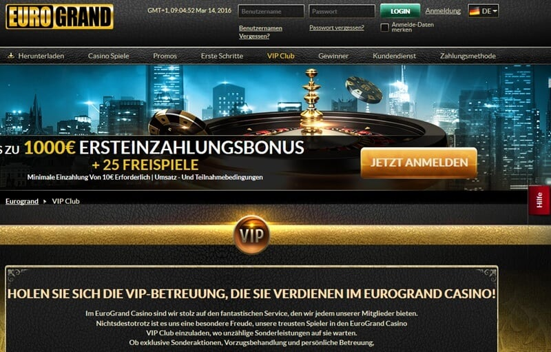 Screenshot Eurogrand VIP Club