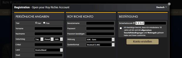 Roy Richie Casino Registrierung