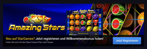 Stargames Willkommensbonus von bis zu 100 € sichern