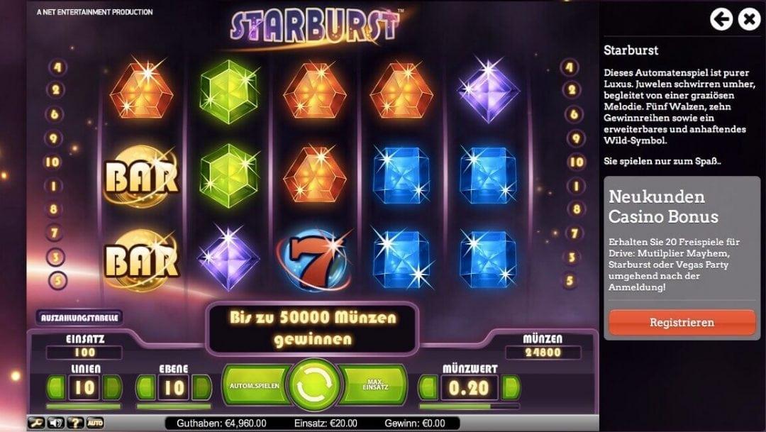 Starburst Bonus ohne Einzahlung 1