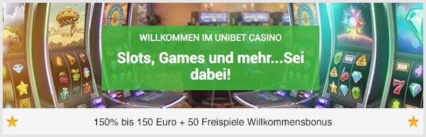 Unibet Casino Bonus: 150 Euro + 50 Freispiele für neue Kunden