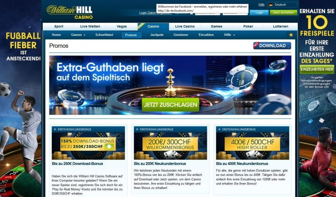 Screenshot William Hill Bonusaktionen