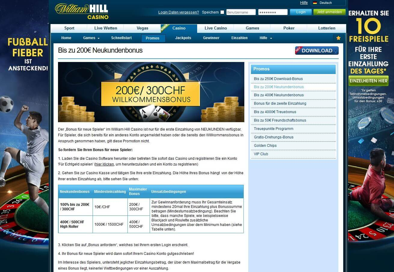 Screenshot William Hill Bonusbedingungen