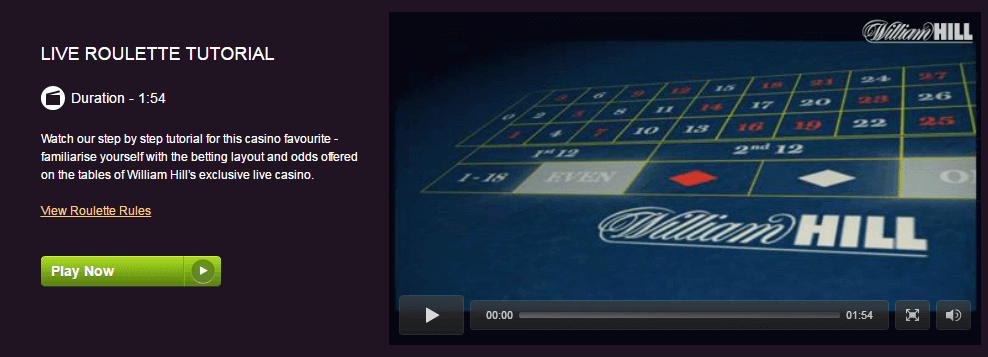 William Hill Live Roulette Video Tutorial