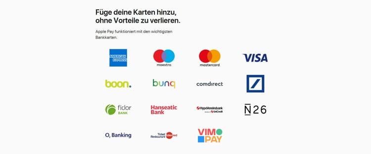 Die Apple Pay App kann mit vielen verschiedenen Konten kombiniert werden