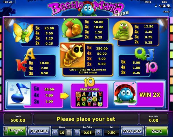 Playtable Beetle Mania Deluxe bei Rivo Casino