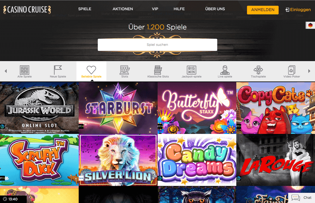 Casino Cruise Angebot Spiele