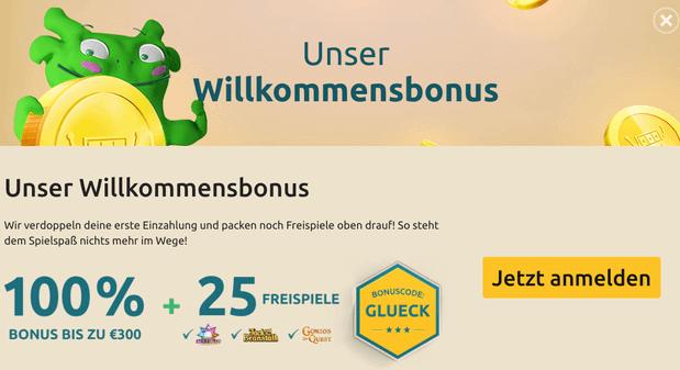DrückGlück Bonus: 100% bis 300 € + 25 Freispiele