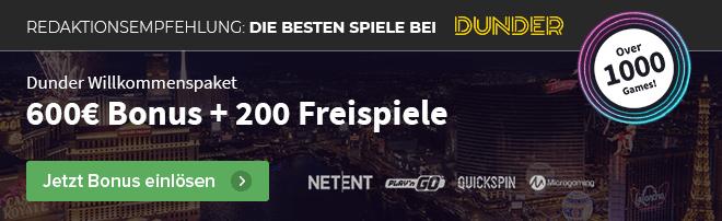 600€ Bonus bei Dunder Casino