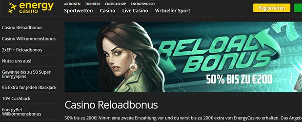 Energy Casino Reload Bonus