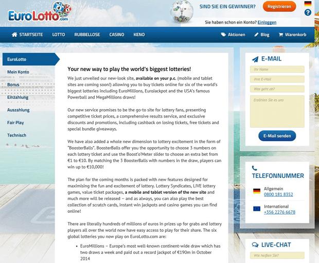 Support von EuroLotto kompetent und auf Deutsch