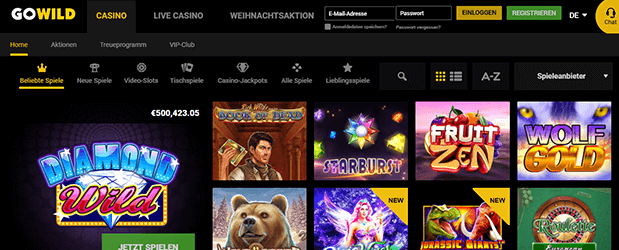 GoWild Casino Spielangebot