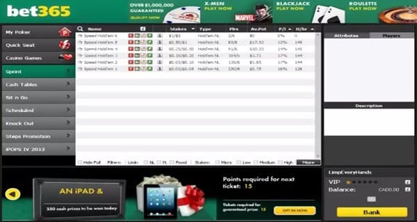 So sieht es in der bet365 Poker-Lobby aus