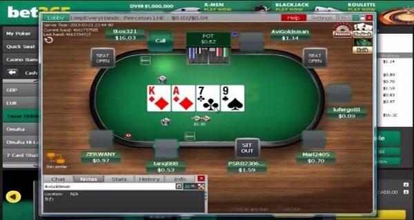 Ein Tisch im Vordergrund der bet365 Poker-Lobby