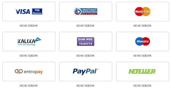 PayPal, Neteller, Bank Wire – die ganze Palette zum Einzahlen