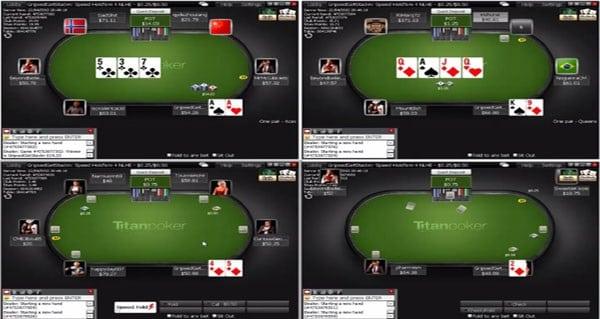 Mit vier Tischen gleichzeitig bei Titan Poker spielen