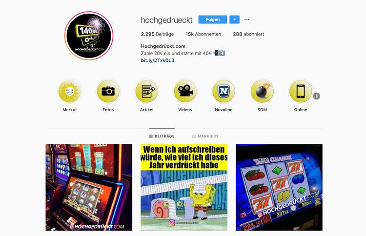 hochgedrückt.com bietet einen spannenden Instagram Auftritt
