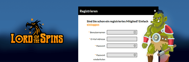 Lord of the Spins Registrierung