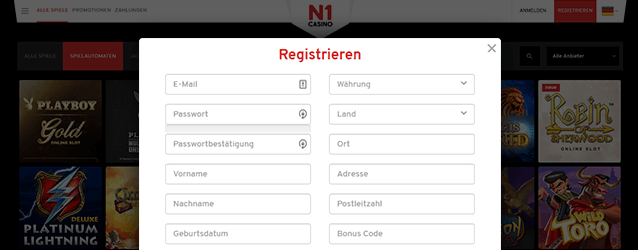 N1 Casino Registrierung
