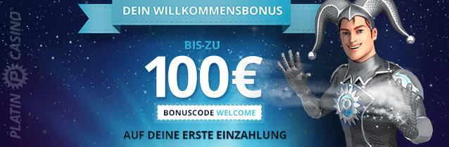platin casino bonus in höhe von 100€