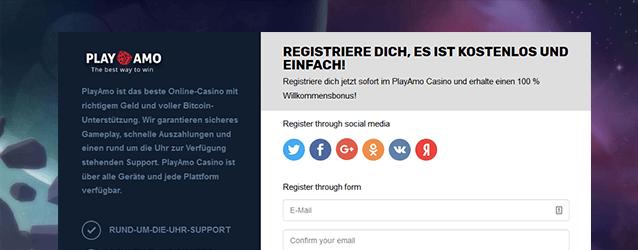 PlayAmo Casino Registrierung