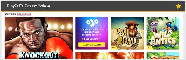 PlayOJO Casino Spiele Angebot