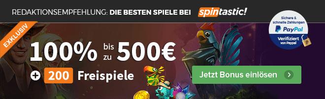 Spintastic Bonus mit PayPal