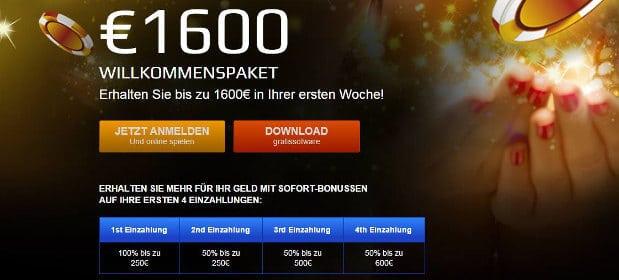 Neue Kunden erhalten einen großzügigen Bonus von bis zu 1600€