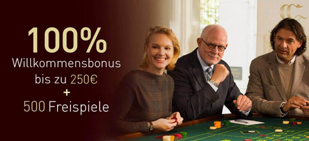 Im Casino Club erhalten Neukunden einen 100% bis 250€ Bonus auf die erste Einzahlung!