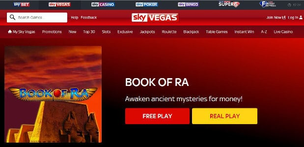 sky vegas book of ra