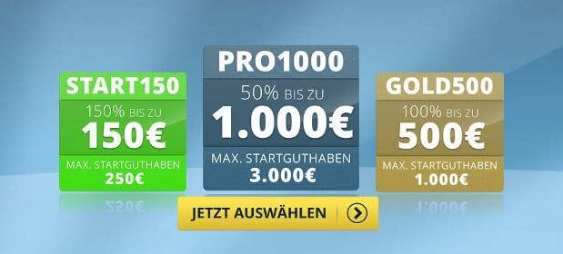 100% bis 150€ auf die erste Einzahlung, steigerbar bis 1000€