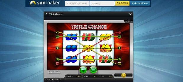 Triple Chance kann im Sunmaker Casino auch kostenlos ausprobiert werden