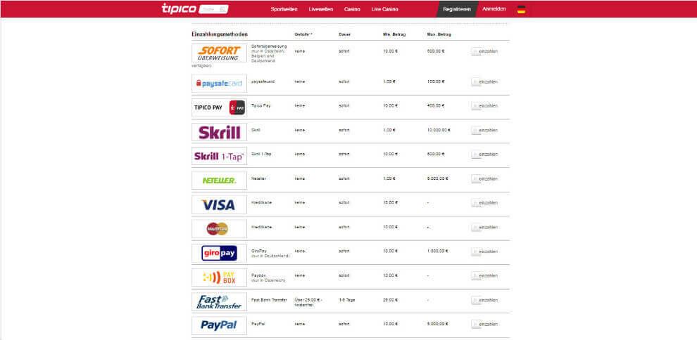 Tipico bietet seinen Kunden alle Top Zahlungsmethoden und zwar gebührenfrei!