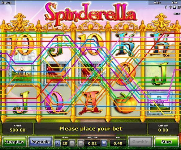 Die Novoline-Slot Spinderella Gewinnreihen bei Rivo Casino