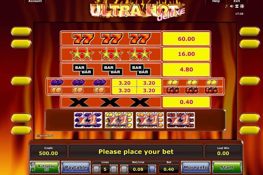 Novoline-Slot Ultra Hot Deluxe Gewinnkombinationen bei Rivo Casino
