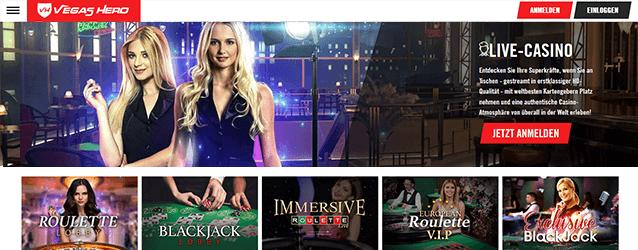 Vegas Hero Casino Live Casino