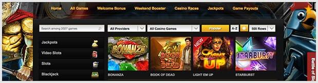 Videoslots Casino Spieleangebot