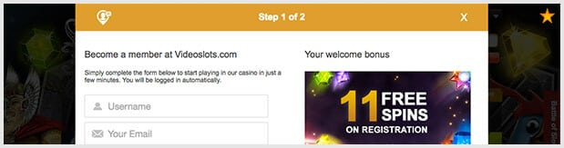 Videoslots Casino Registrierung
